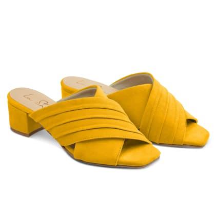 Mule mit Raffung Gelb