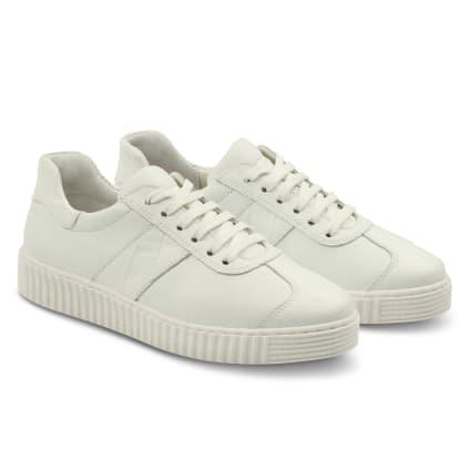 Sneaker Retro mit Kroko-Detail Weiß