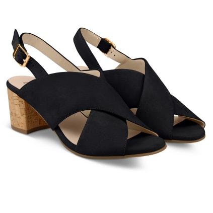 Sandalette mit Korkabsatz Schwarz
