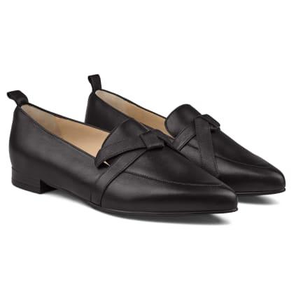 Loafer Spitz mit Schleifendetail Schwarz