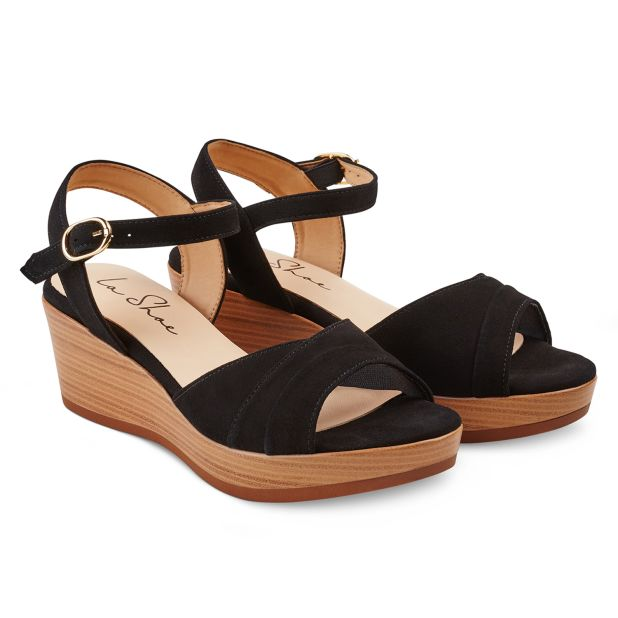 Sandale auf Keilabsatz Schwarz