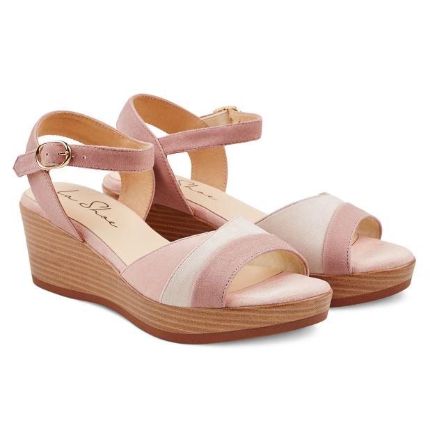 Sandale auf Keilabsatz Rosé