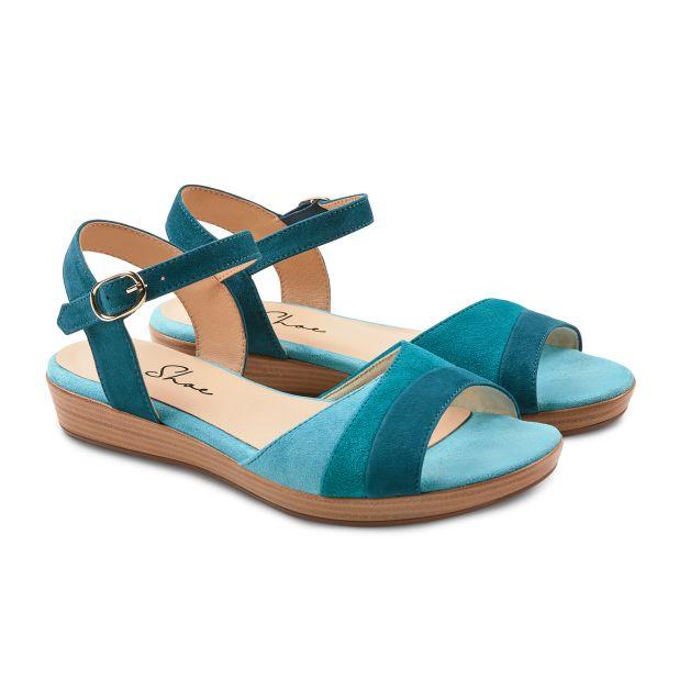 Sandale auf Mini-Keilabsatz Aqua