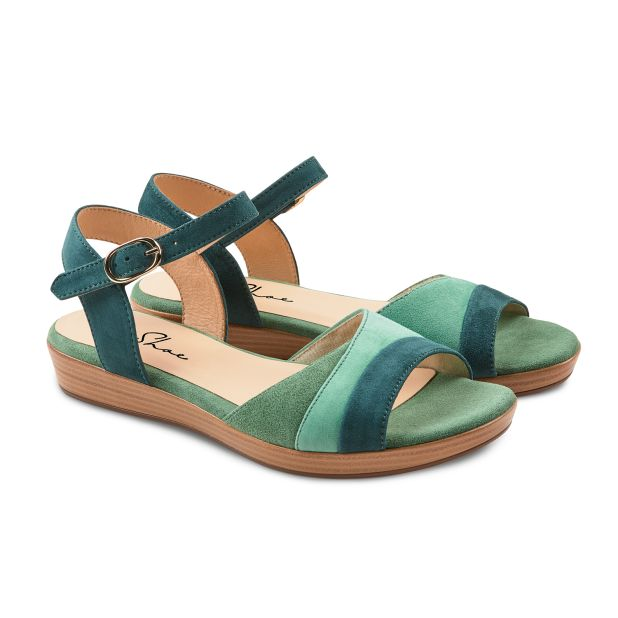Sandale auf Mini-Keilabsatz Grün