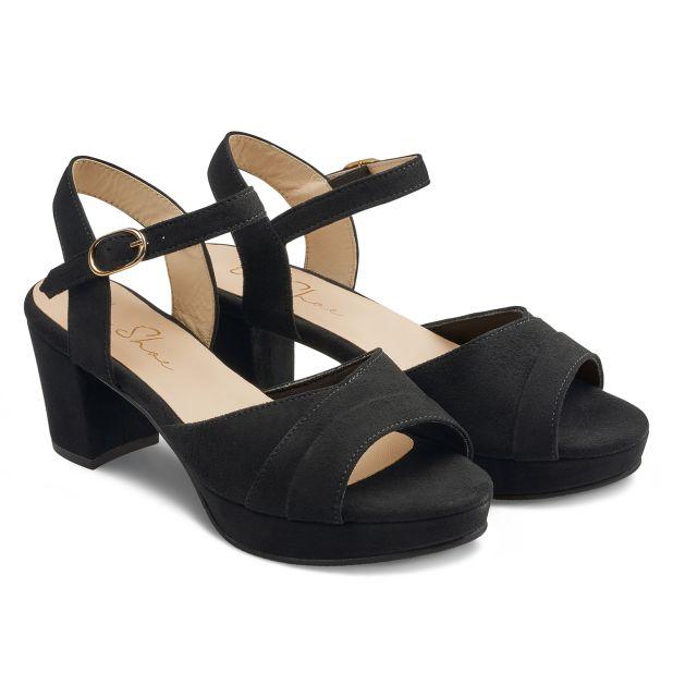 Sandale mit Plateauabsatz Schwarz