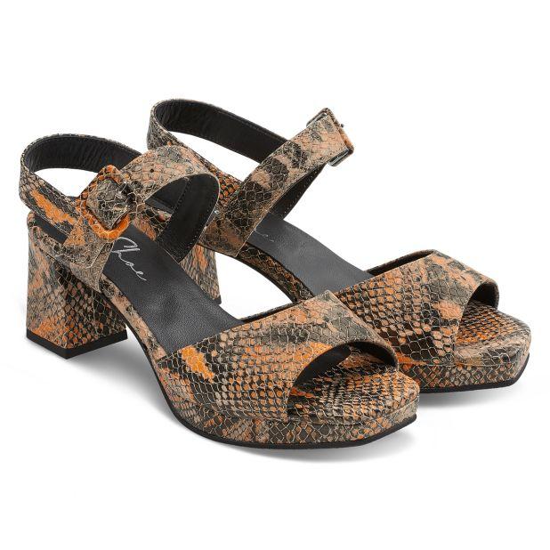 Sandalette Karree-Form Schlangenprint Braun