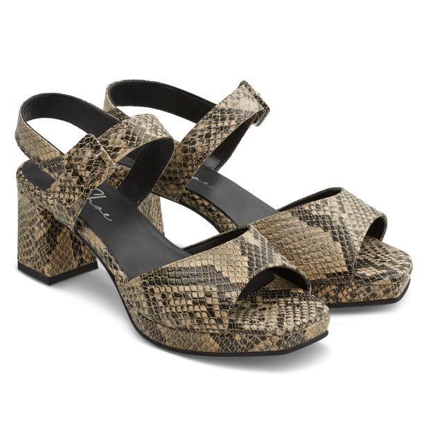 Sandalette Karree-Form Schlangenprint Schwarz
