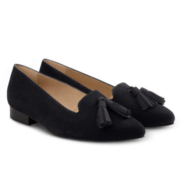 Femininer Loafer mit Tasseln Schwarz