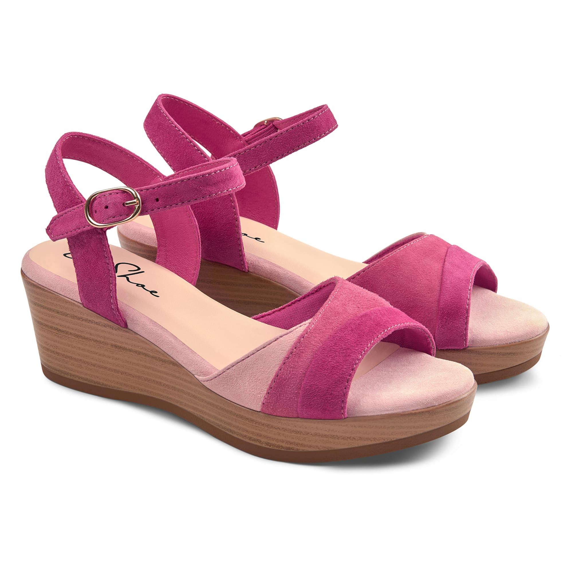 Sandale auf Keilabsatz Pink – modischer und bequemer Schuh für Hallux valgus und empfindliche Füße von LaShoe.de