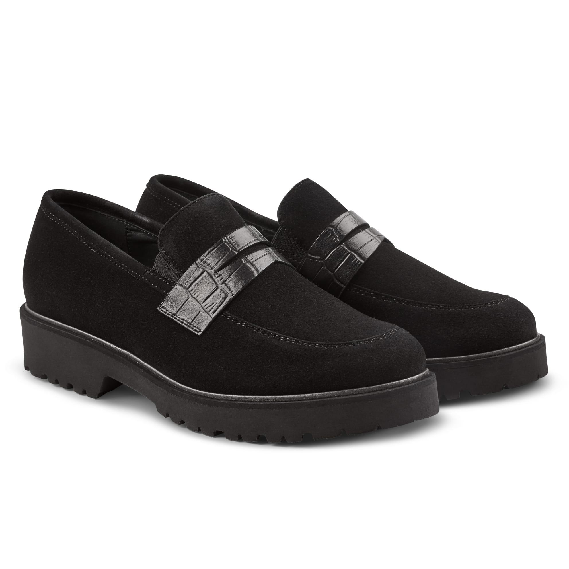 Premium Loafer mit Profilsohle Schwarz – modischer und bequemer Schuh für Hallux valgus und empfindliche Füße von LaShoe.de