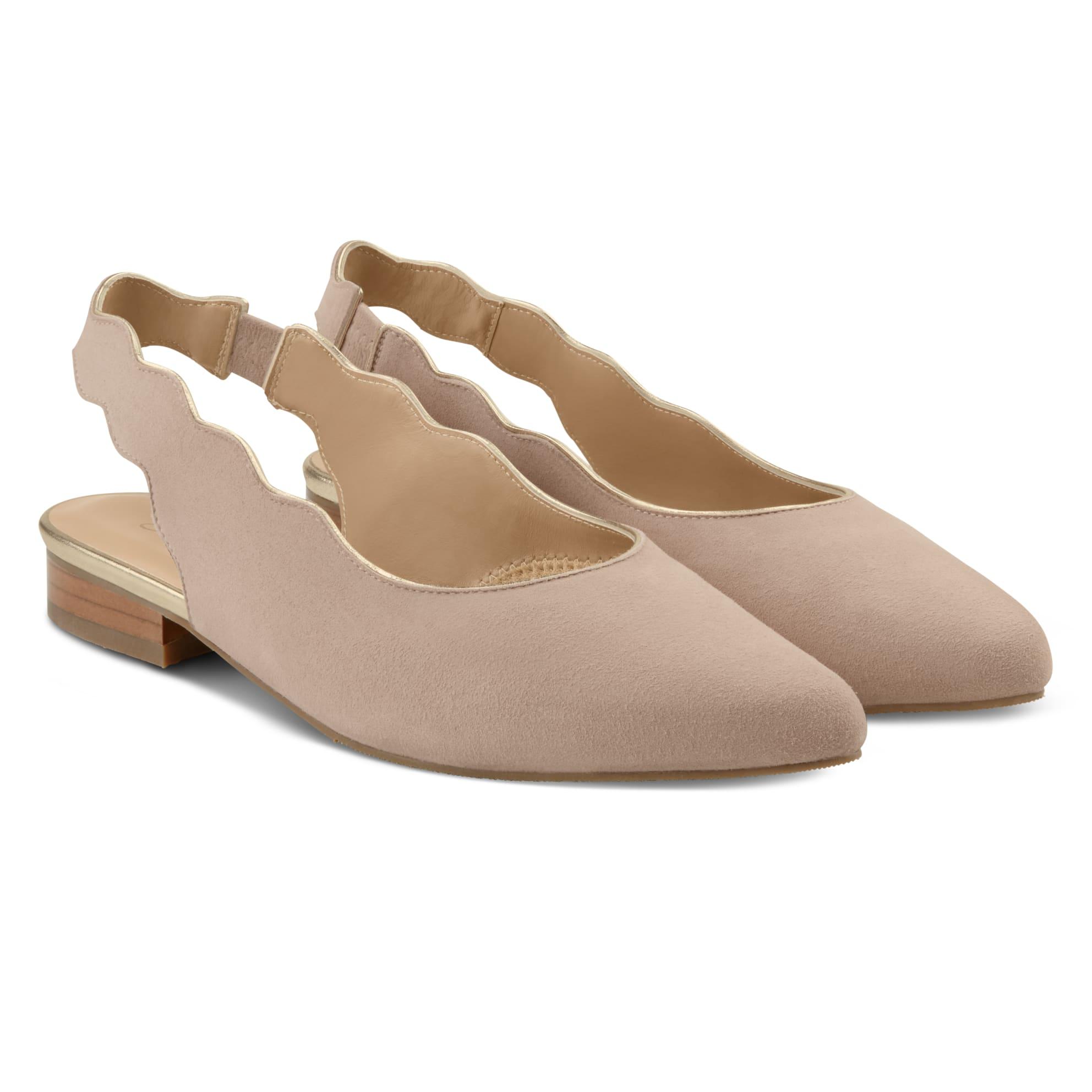 Sling Ballerina mit Goldrand Nude – modischer und bequemer Schuh für Hallux valgus und empfindliche Füße von LaShoe.de