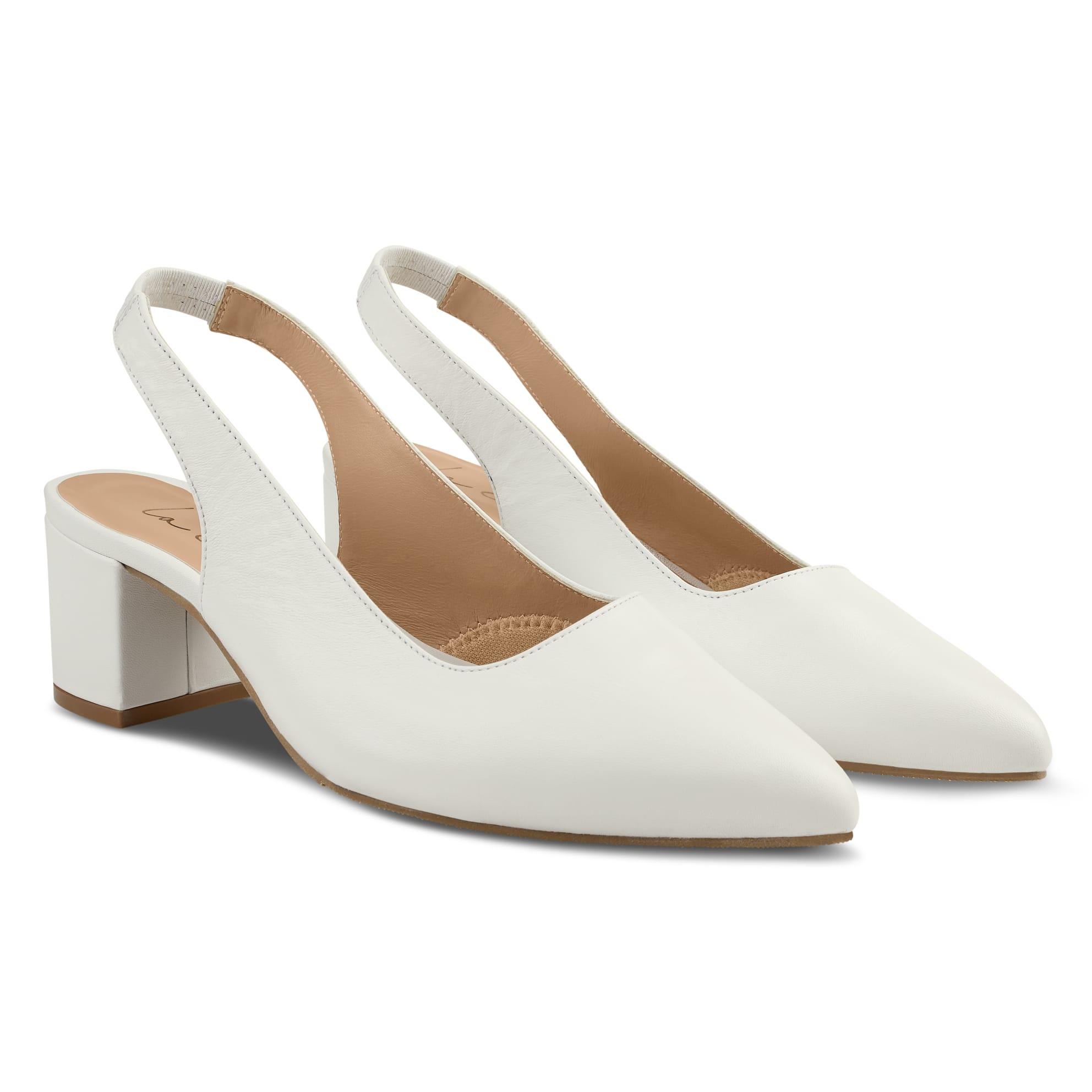 Sling Pumps Spitz Nappaleder Weiß – modischer und bequemer Schuh für Hallux valgus und empfindliche Füße von LaShoe.de