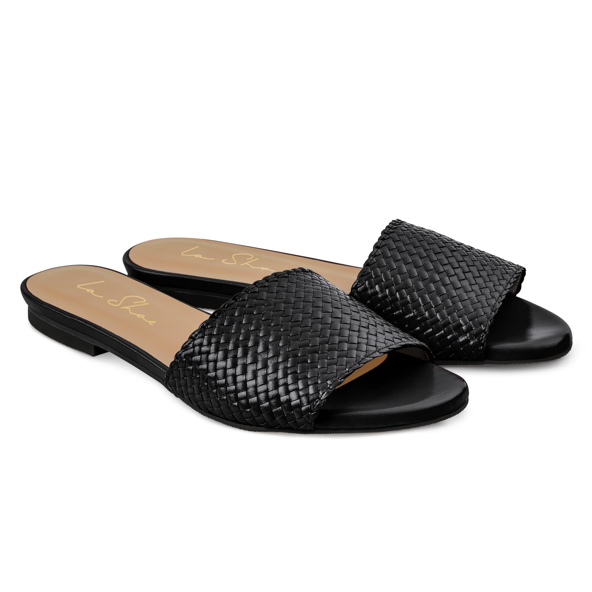 Pantolette mit geflochtenem Riemen Schwarz – modischer und bequemer Schuh für Hallux valgus und empfindliche Füße von LaShoe.de