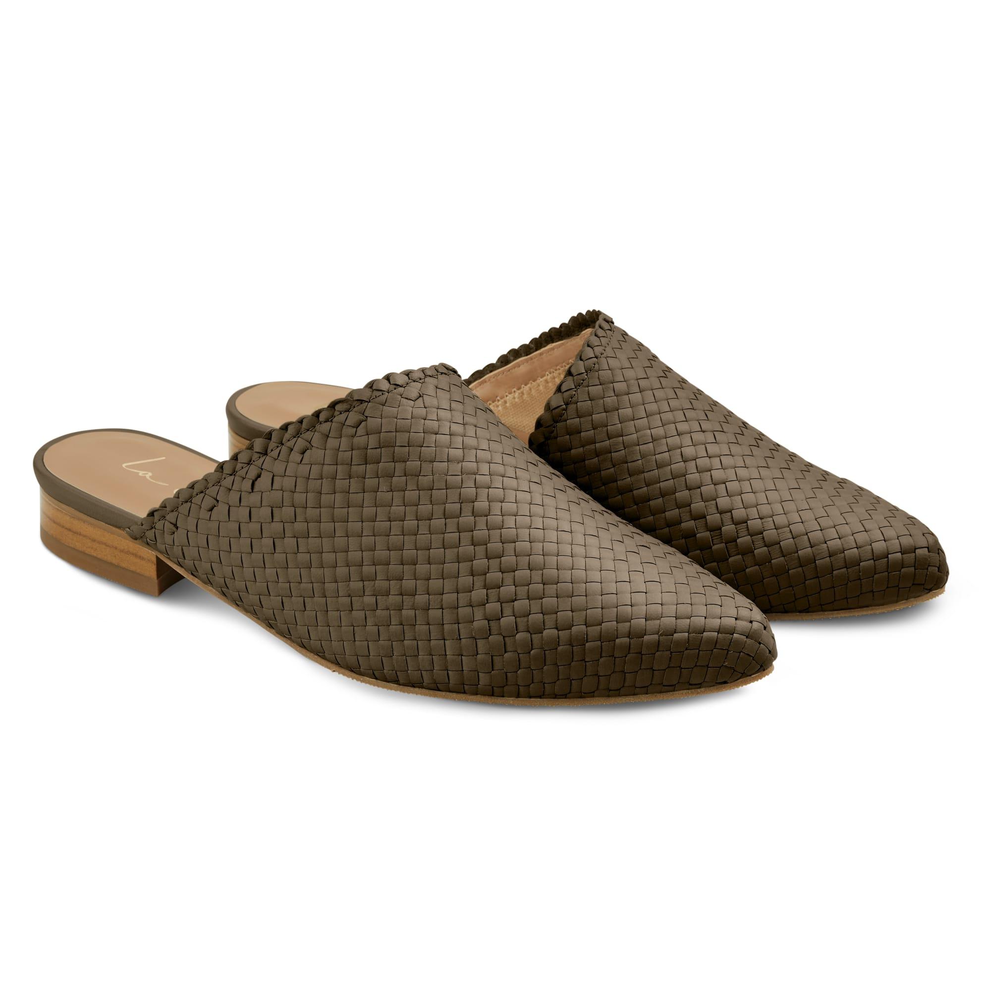 Premium Mule geflochten Khaki – modischer und bequemer Schuh für Hallux valgus und empfindliche Füße von LaShoe.de