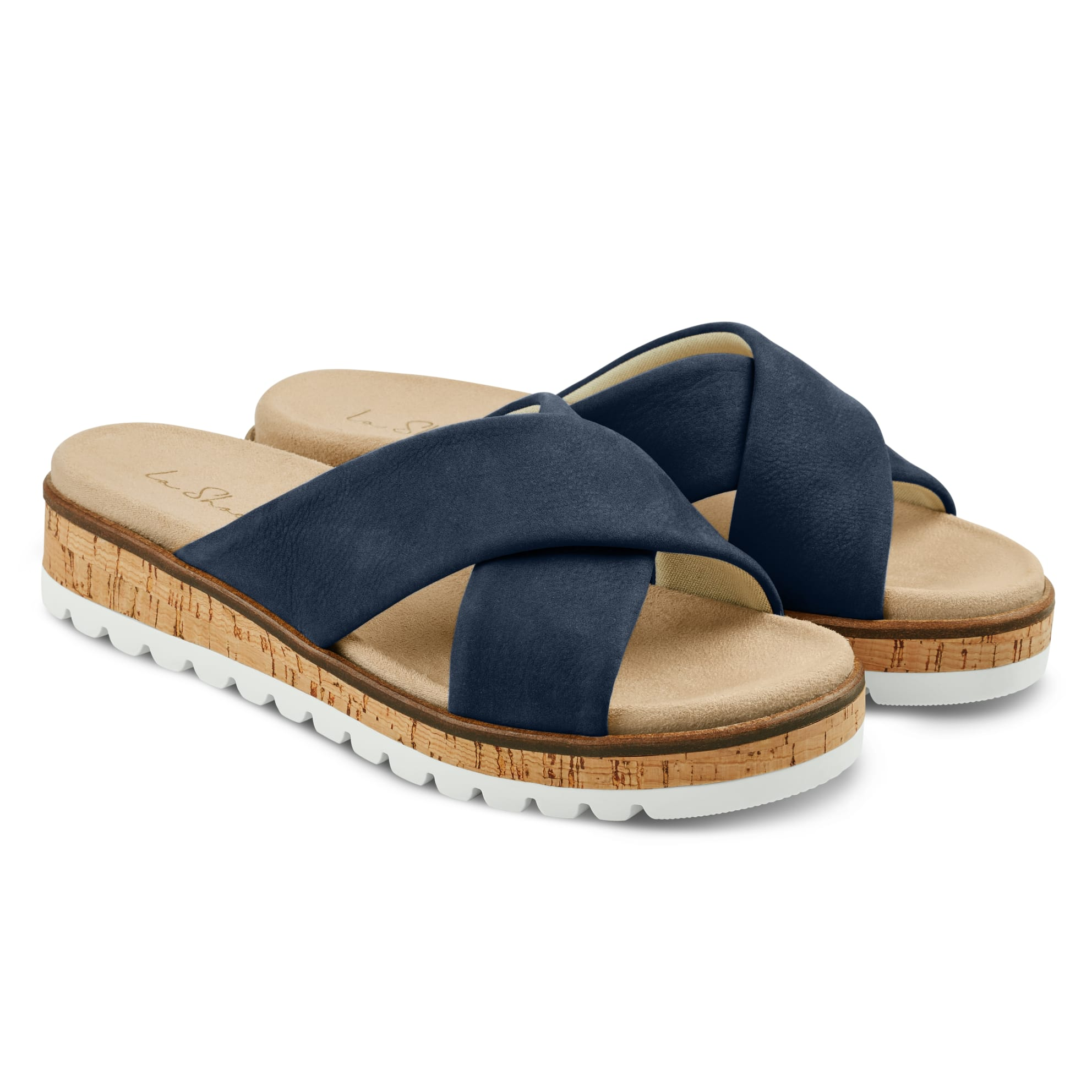 Pantolette mit Kreuzriemen Marine – modischer und bequemer Schuh für Hallux valgus und empfindliche Füße von LaShoe.de