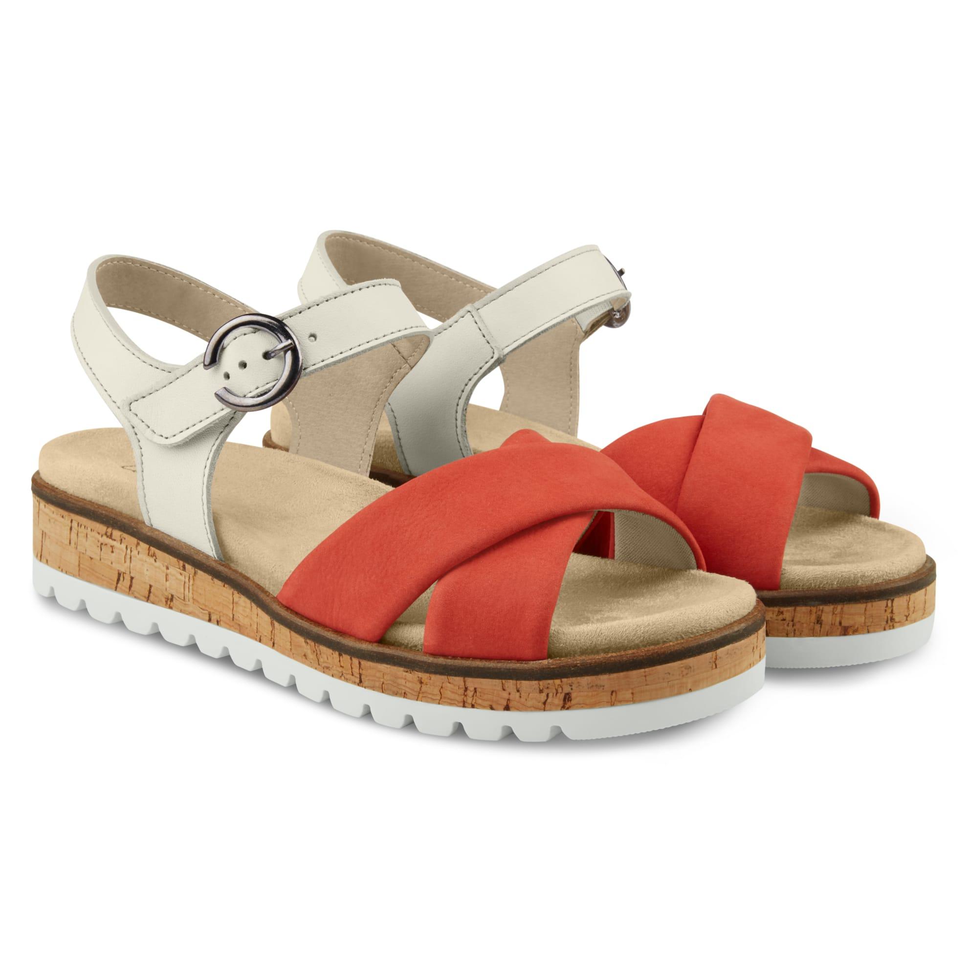 Sandale zweifarbig mit Kreuzriemen Rot – modischer und bequemer Schuh für Hallux valgus und empfindliche Füße von LaShoe.de