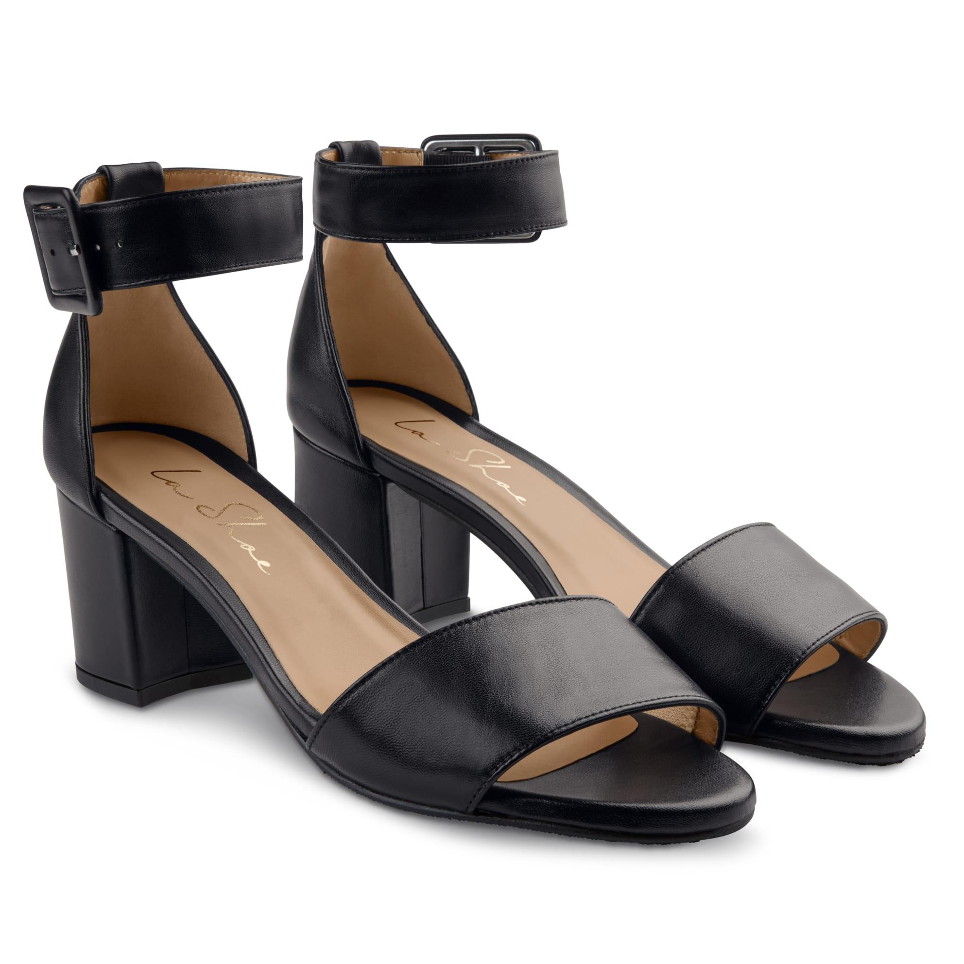 Sandalette mit Fesselriemchen Schwarz – modischer und bequemer Schuh für Hallux valgus und empfindliche Füße von LaShoe.de