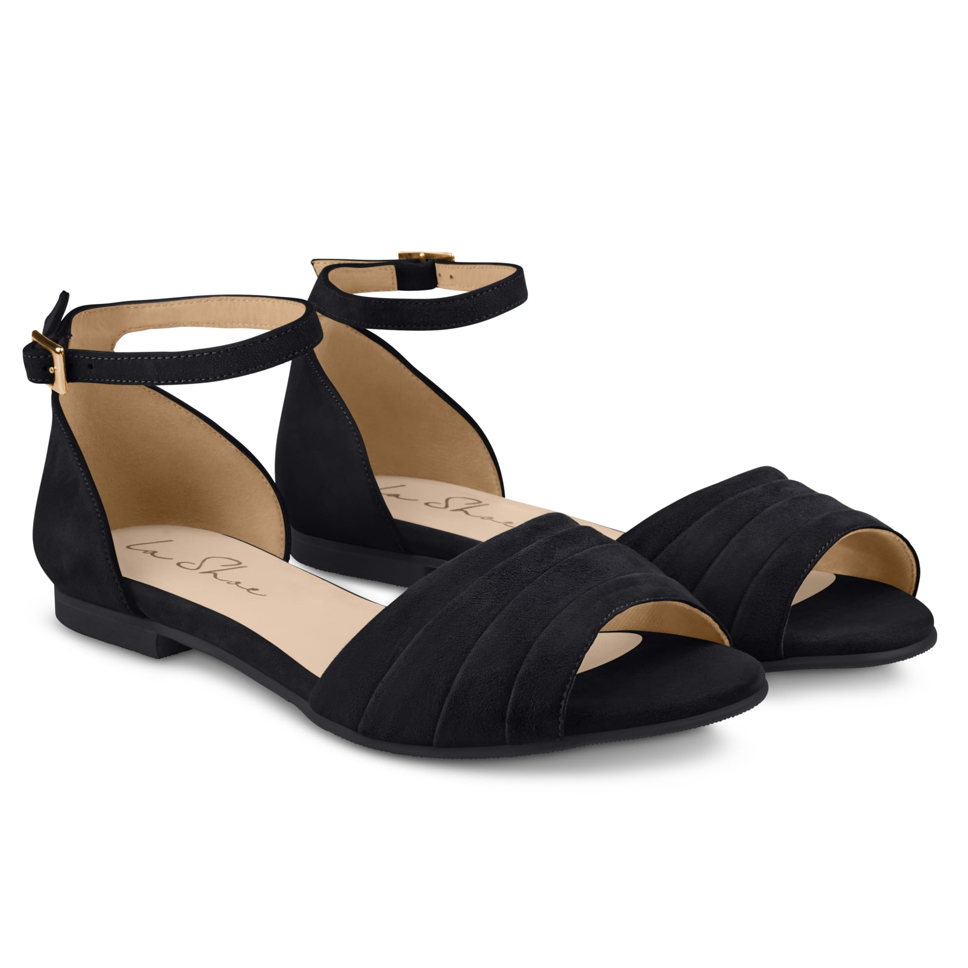 Sandale mit gefaltetem Riemchen Schwarz – modischer und bequemer Schuh für Hallux valgus und empfindliche Füße von LaShoe.de