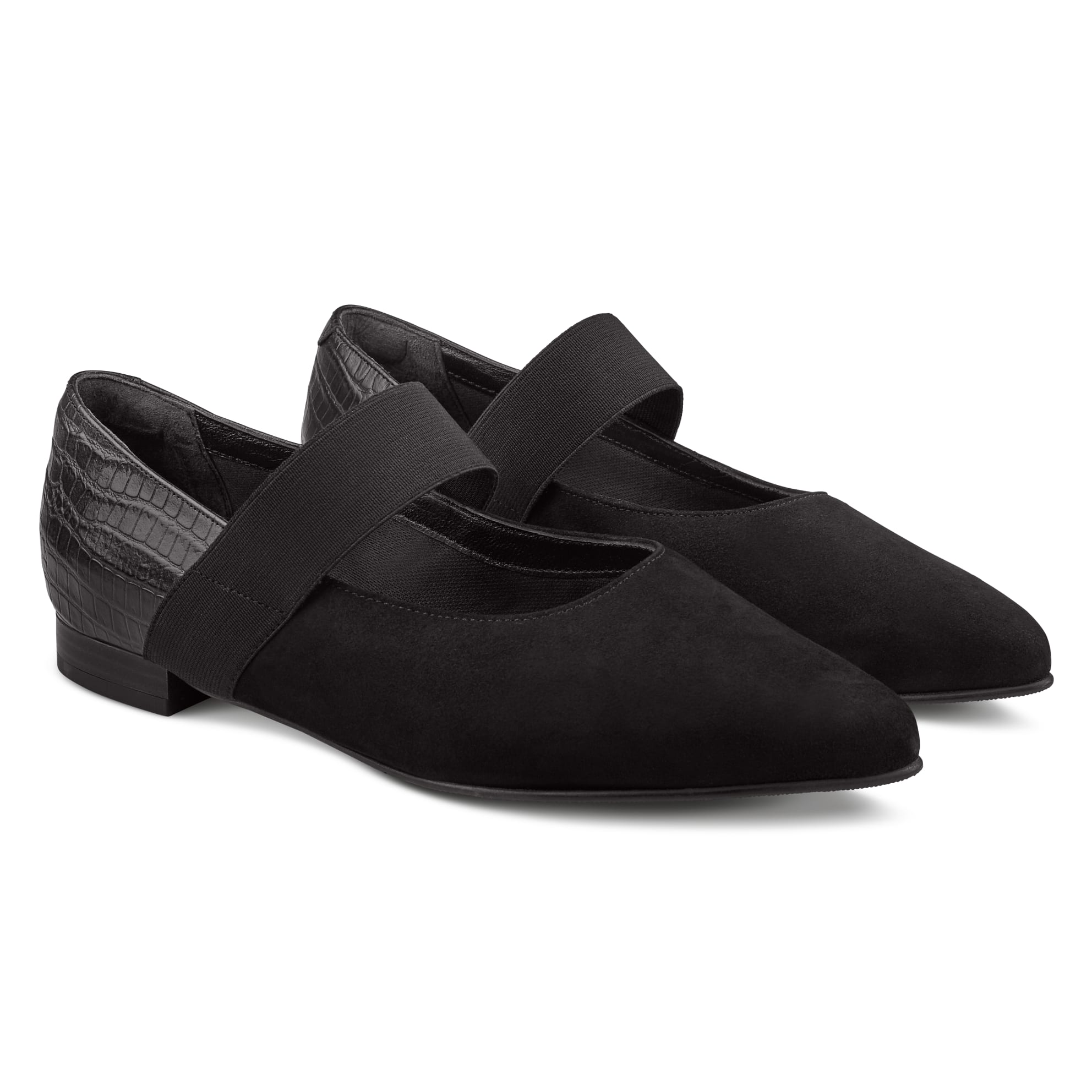 Ballerina mit Kroko und Stretchriemchen Schwarz – modischer und bequemer Schuh für Hallux valgus und empfindliche Füße von LaShoe.de