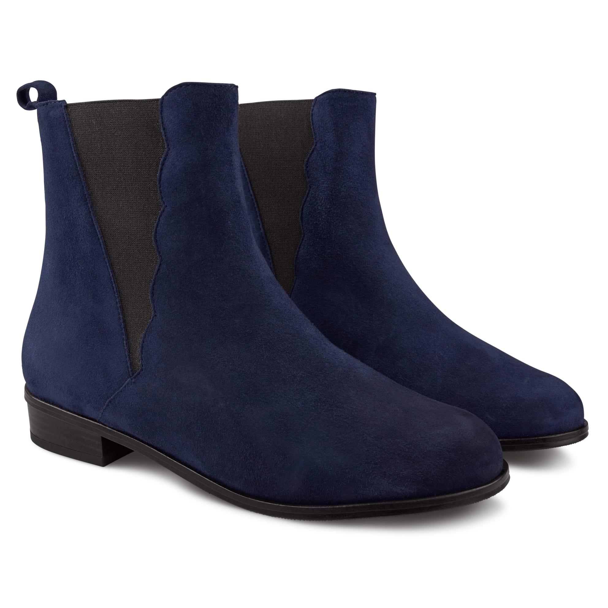 Chelsea-Stiefelette mit Welleneinsatz Marine – modischer und bequemer Schuh für Hallux valgus und empfindliche Füße von LaShoe.de