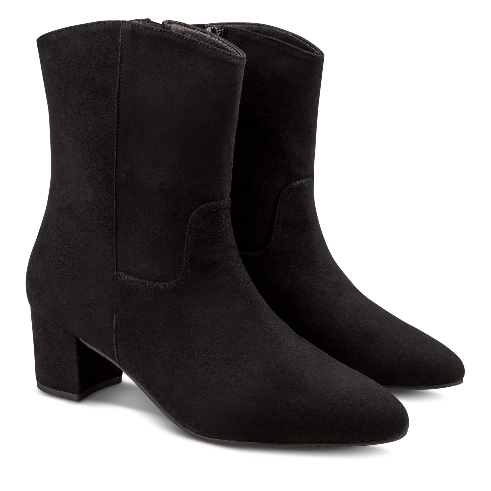 Bootie mit Absatz und rundem Schaft Schwarz – modischer und bequemer Schuh für Hallux valgus und empfindliche Füße von LaShoe.de
