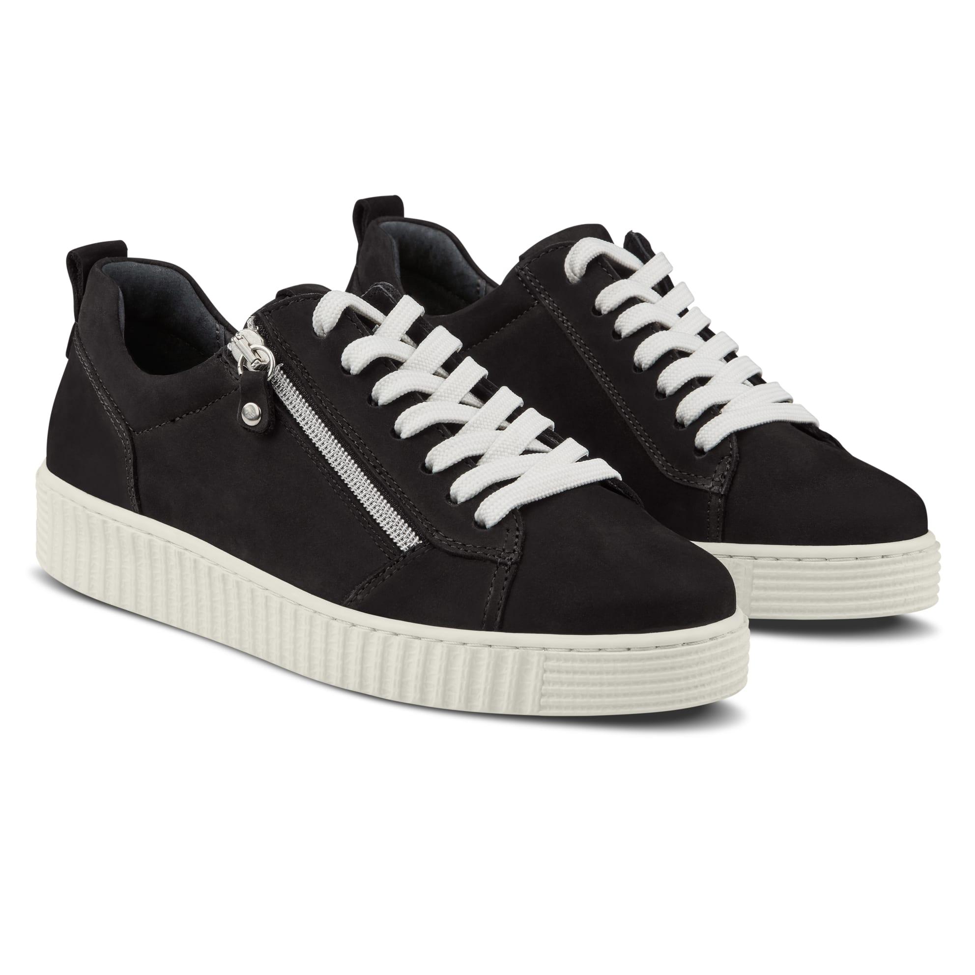 Sneaker Retro mit Zipper Schwarz – modischer und bequemer Schuh für Hallux valgus und empfindliche Füße von LaShoe.de