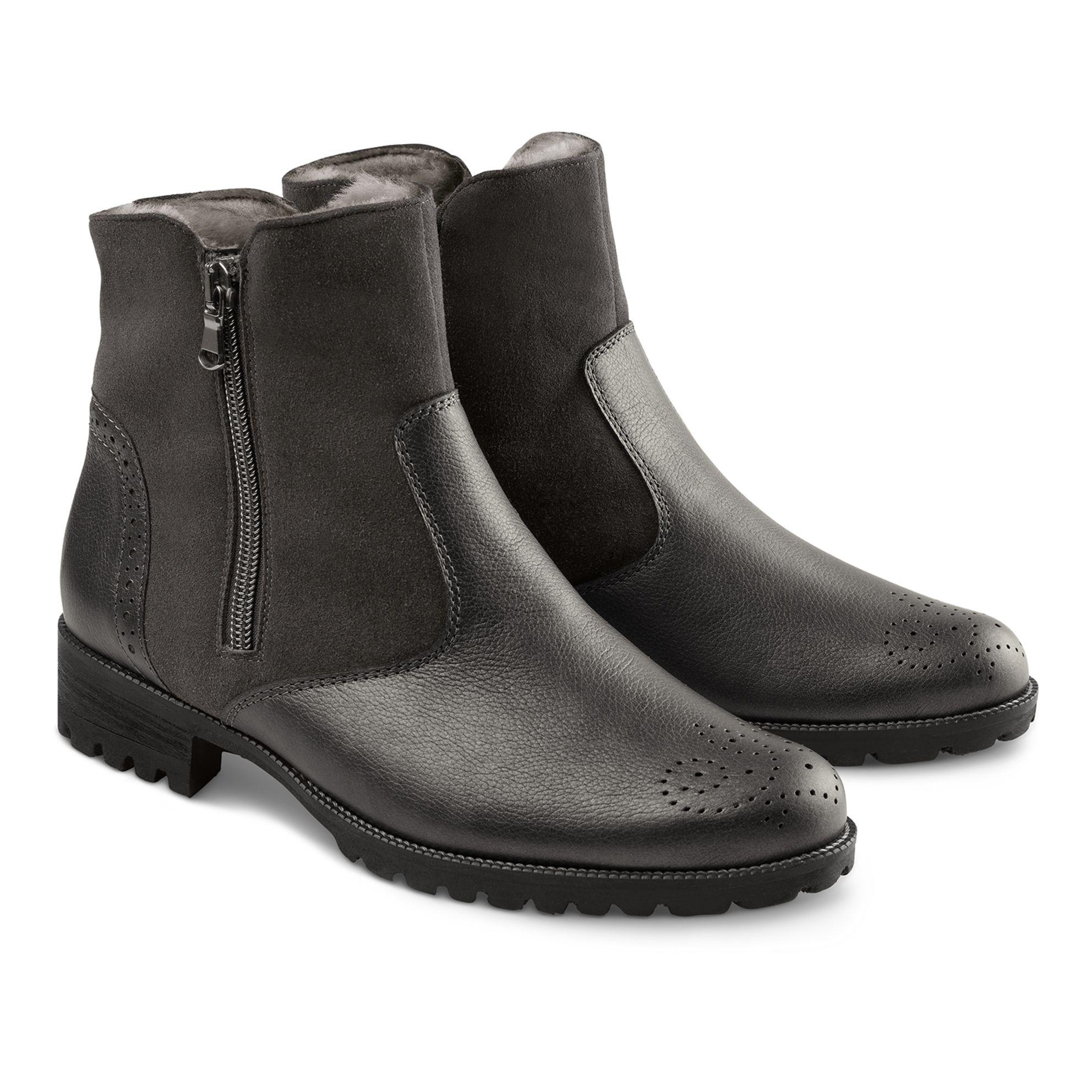 Lammfell Stiefelette Anthrazit – modischer und bequemer Schuh für Hallux valgus und empfindliche Füße von LaShoe.de