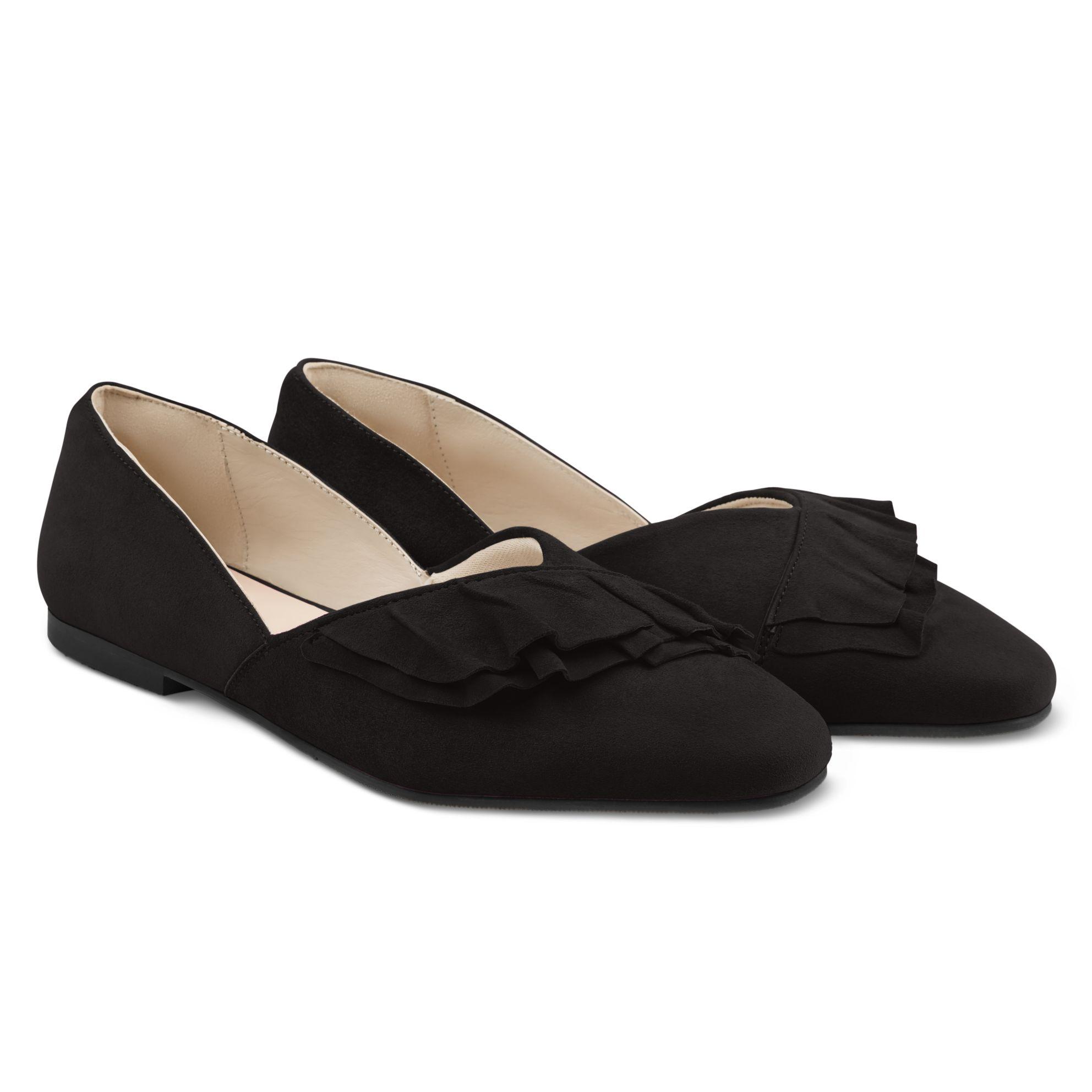 Ballerina mit Volant Schwarz – modischer und bequemer Schuh für Hallux valgus und empfindliche Füße von LaShoe.de