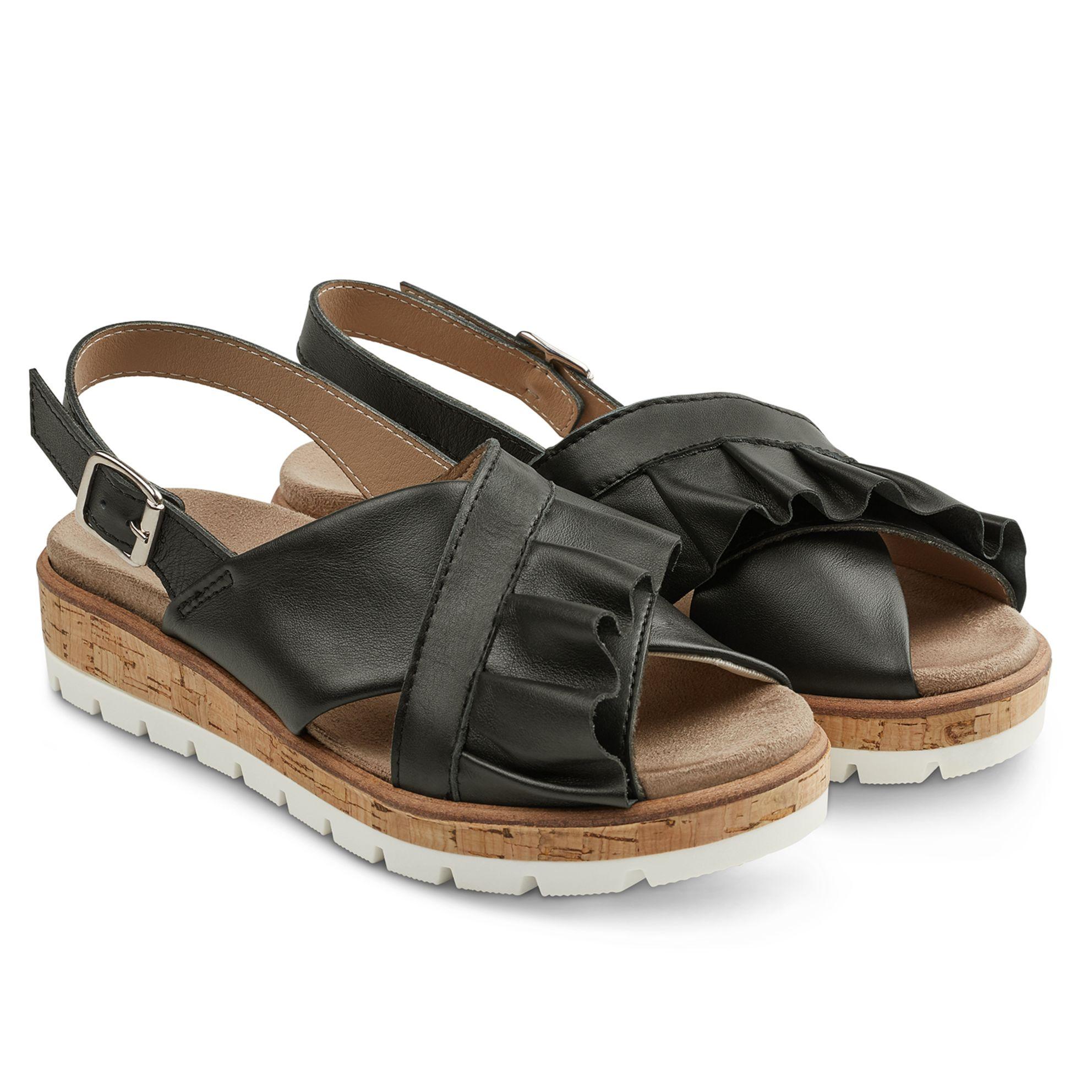 Sandale Kreuzriemen mit Volant Schwarz – modischer und bequemer Schuh für Hallux valgus und empfindliche Füße von LaShoe.de