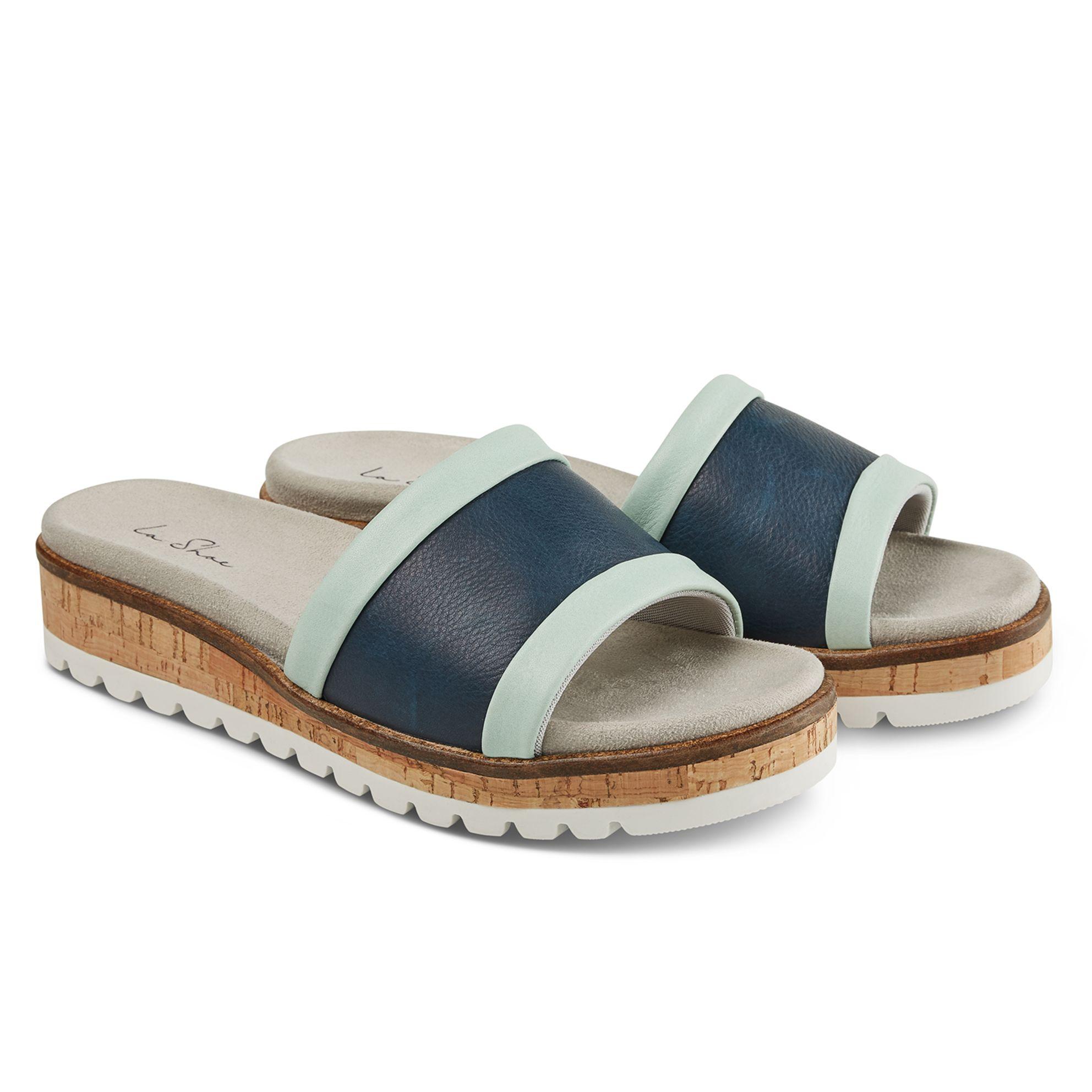 Pantolette mit Wechselfußbett Blau – modischer und bequemer Schuh für Hallux valgus und empfindliche Füße von LaShoe.de