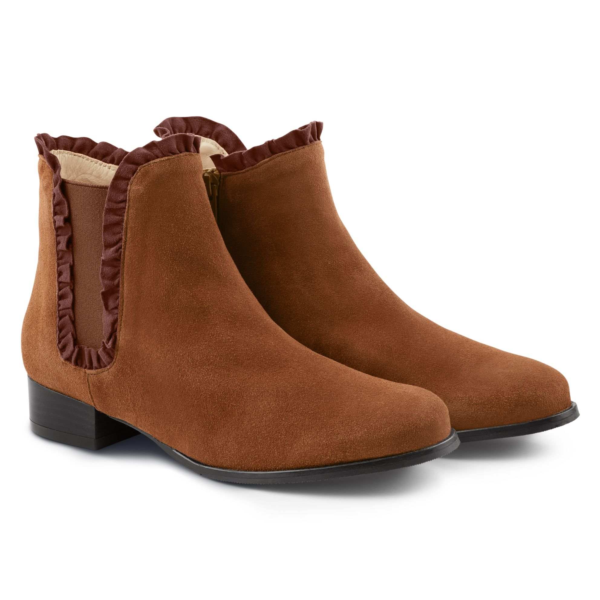 Chelseabootie mit Rüschen Braun – modischer und bequemer Schuh für Hallux valgus und empfindliche Füße von LaShoe.de