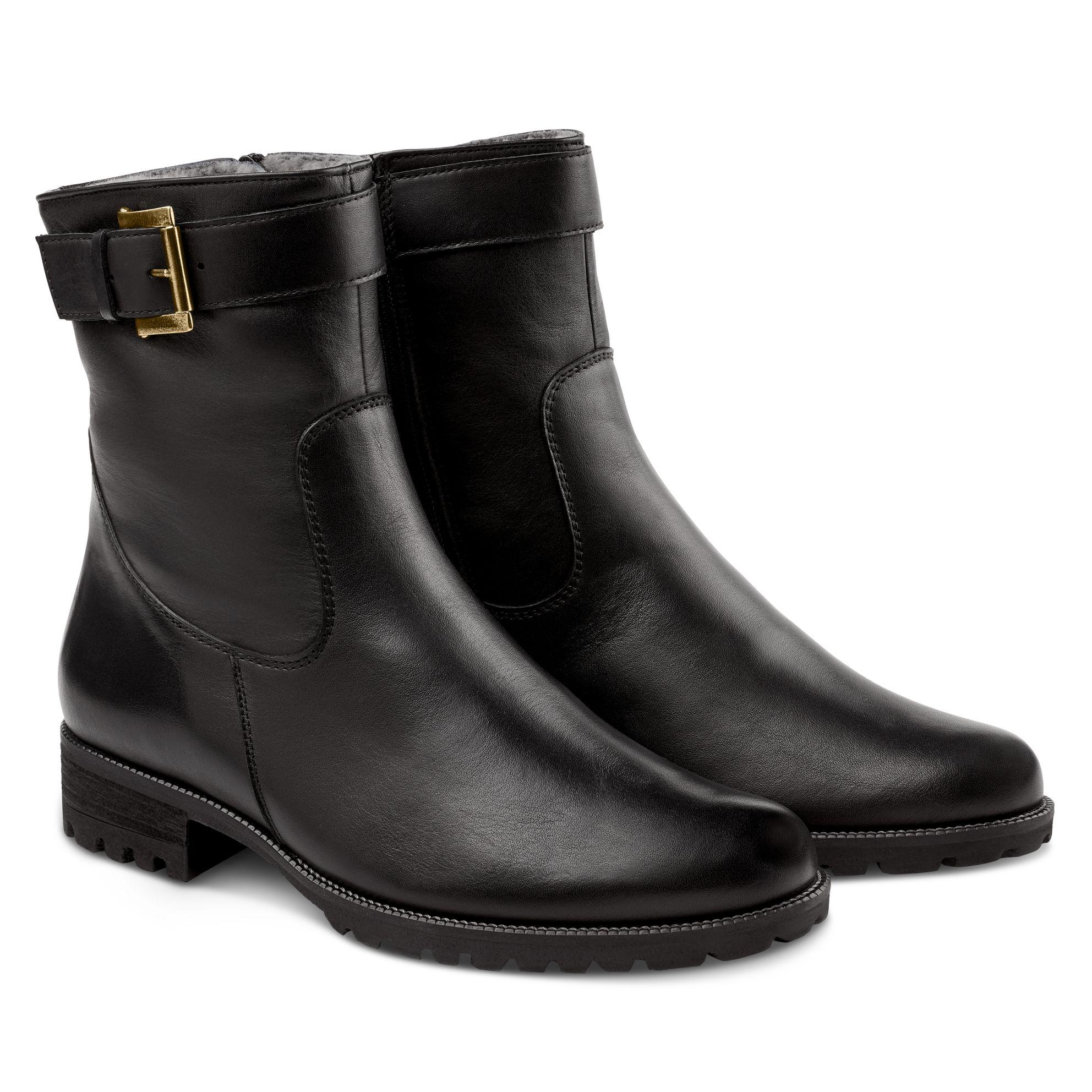 Lammfell Stiefelette mit Schnalle Schwarz – modischer und bequemer Schuh für Hallux valgus und empfindliche Füße von LaShoe.de