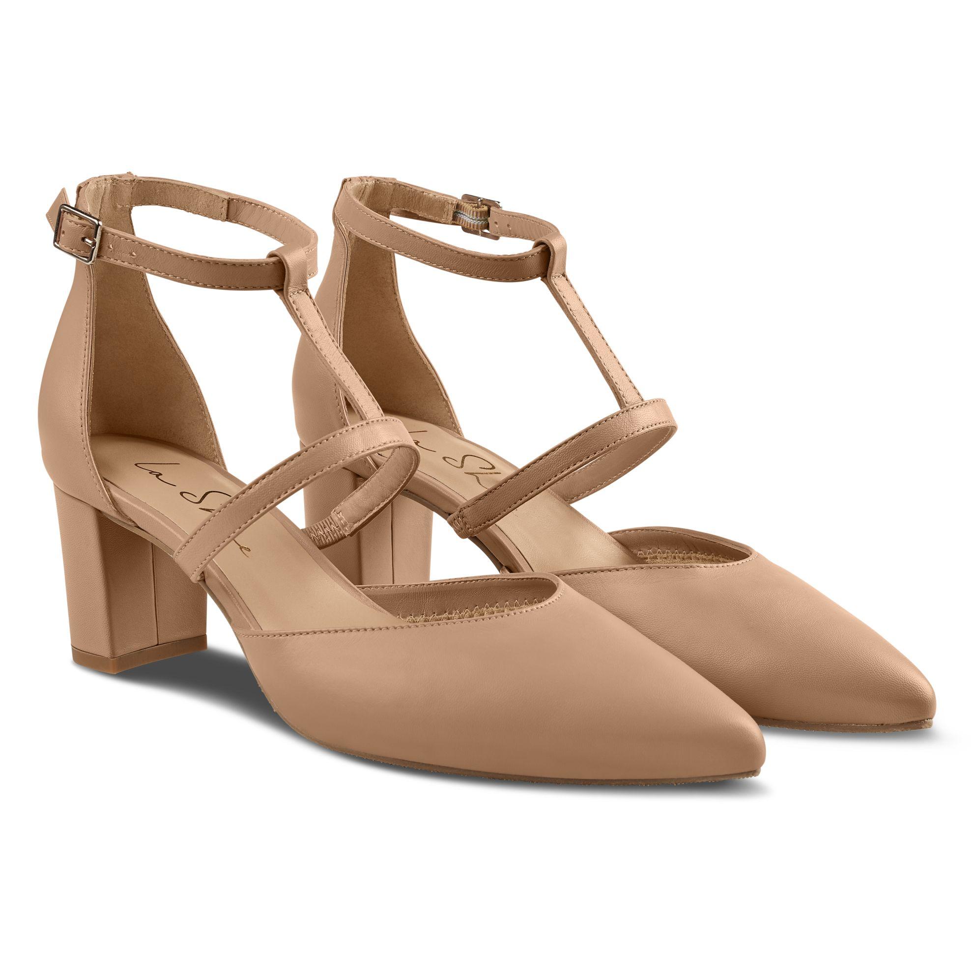 Pumps T-Strap Nude – modischer und bequemer Schuh für Hallux valgus und empfindliche Füße von LaShoe.de
