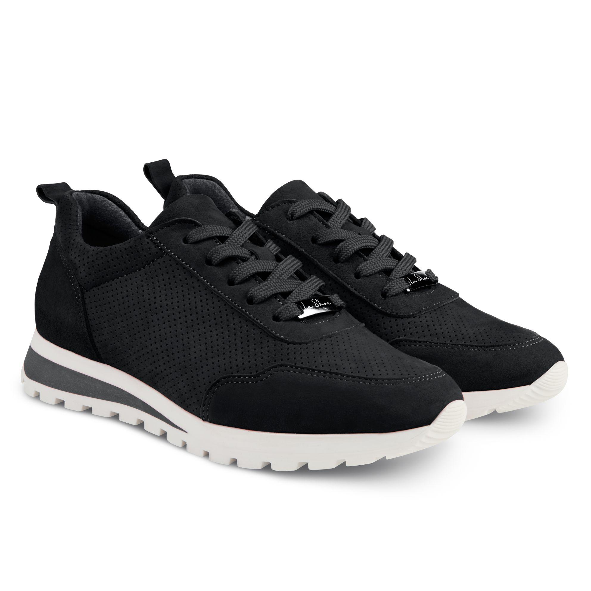 Sneaker Leder Classic Schwarz – modischer und bequemer Schuh für Hallux valgus und empfindliche Füße von LaShoe.de