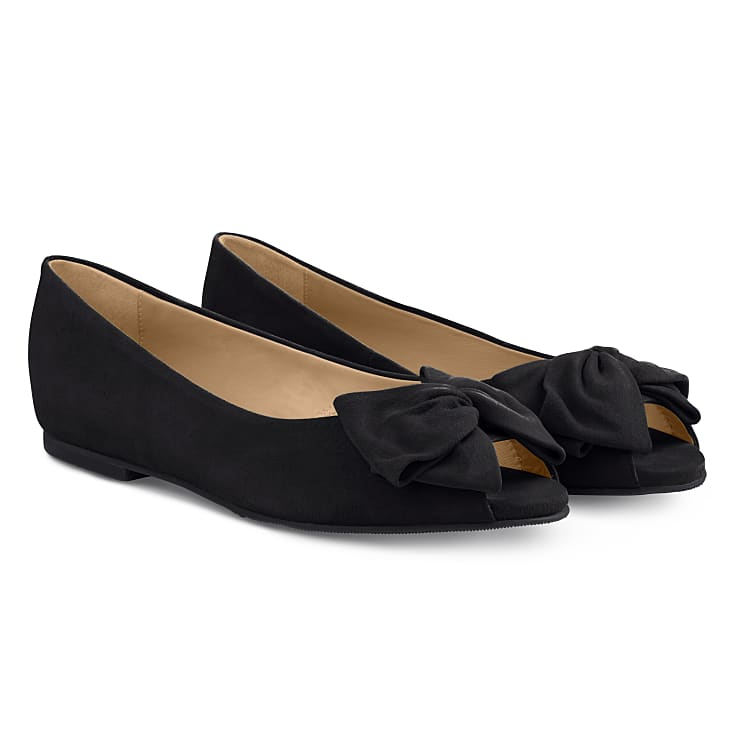 Peeptoe Ballerina mit Schleife Schwarz