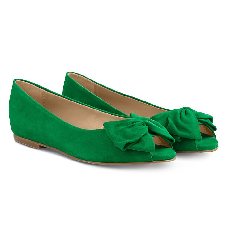 Peeptoe Ballerina mit Schleife Grün