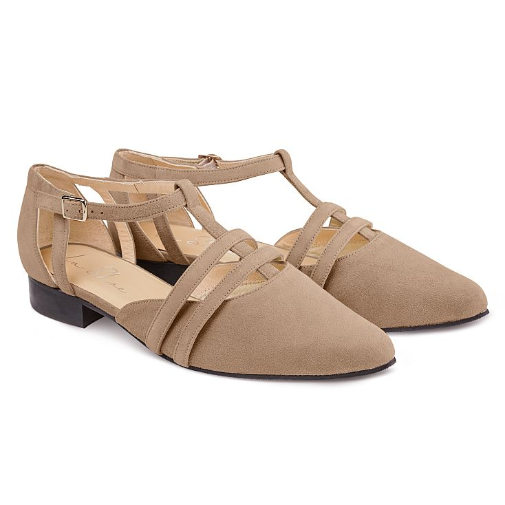 Ballerina T-Strap Taupe
