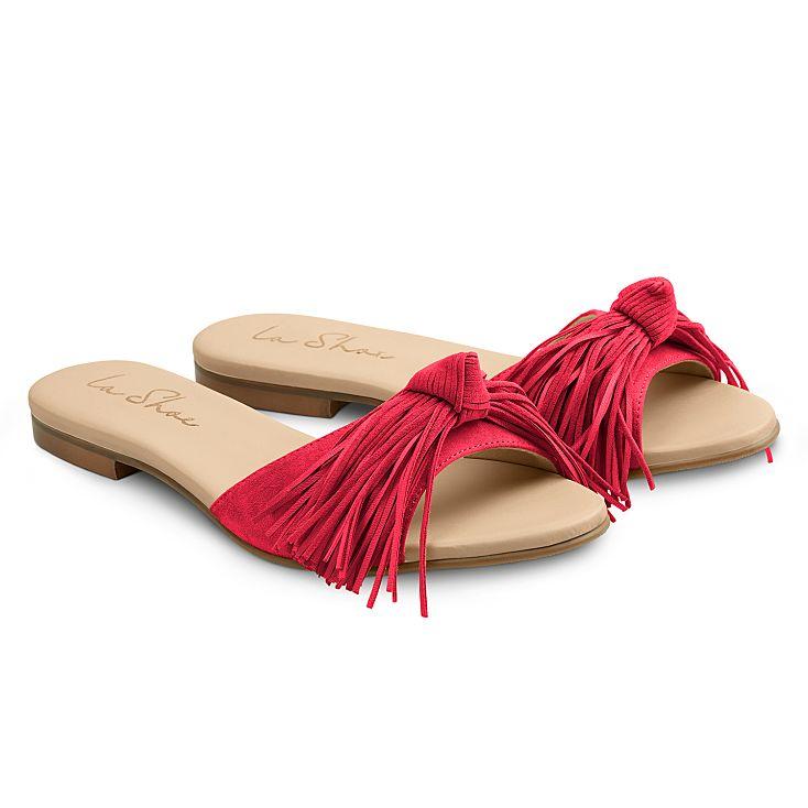 Slide mit Fransen Rot