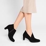 Stiefelette mit V-Cut-Out Schwarz – modischer und bequemer Schuh für Hallux valgus und empfindliche Füße von LaShoe.de