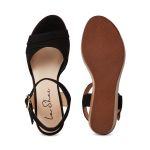 Sandale auf Keilabsatz Schwarz – modischer und bequemer Schuh für Hallux valgus und empfindliche Füße von LaShoe.de