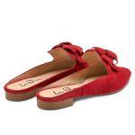 Mule mit Blume Rot – modischer und bequemer Schuh für Hallux valgus und empfindliche Füße von LaShoe.de