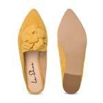 Mule mit Blume Gelb – modischer und bequemer Schuh für Hallux valgus und empfindliche Füße von LaShoe.de