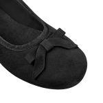 Ballerina mit Schleife Nubuk Schwarz – modischer und bequemer Schuh für Hallux valgus und empfindliche Füße von LaShoe.de