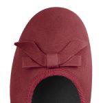 Ballerina mit Schleife Nubuk Rot – modischer und bequemer Schuh für Hallux valgus und empfindliche Füße von LaShoe.de