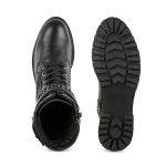 Biker-Schnürboot Schwarz – modischer und bequemer Schuh für Hallux valgus und empfindliche Füße von LaShoe.de