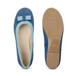 Ballerina mit Doppelschleife Blau – modischer und bequemer Schuh für Hallux valgus und empfindliche Füße von LaShoe.de