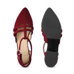 Ballerina T-Strap Rot – modischer und bequemer Schuh für Hallux valgus und empfindliche Füße von LaShoe.de
