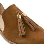 Slipper mit Tasseln Cognac – modischer und bequemer Schuh für Hallux valgus und empfindliche Füße von LaShoe.de