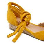 Sandale auf Bast-Keilabsatz Gelb – modischer und bequemer Schuh für Hallux valgus und empfindliche Füße von LaShoe.de