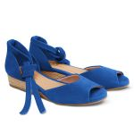 Sandale auf Bast-Keilabsatz Royalblau – modischer und bequemer Schuh für Hallux valgus und empfindliche Füße von LaShoe.de